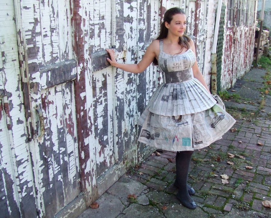 making of newspaper dress